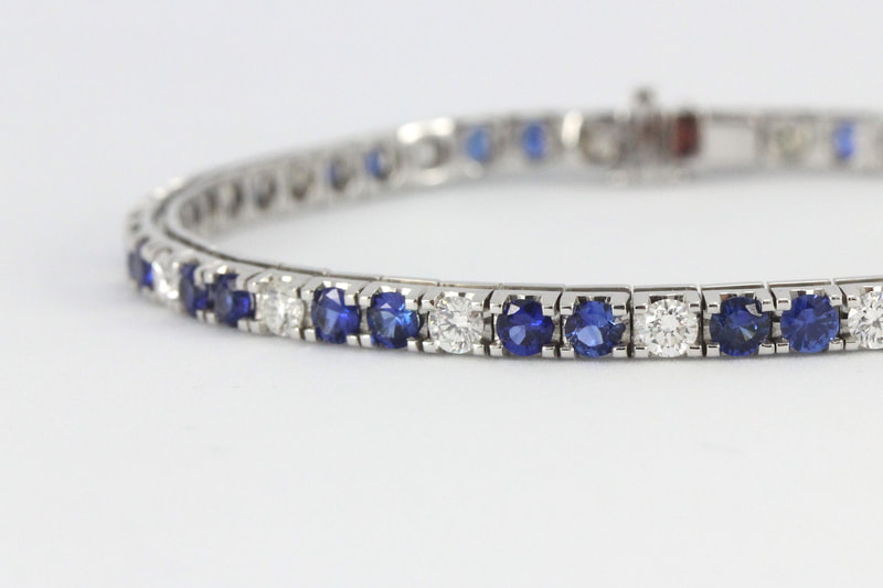 Sapphire and Diamond Tennis Bracelet in White Gold